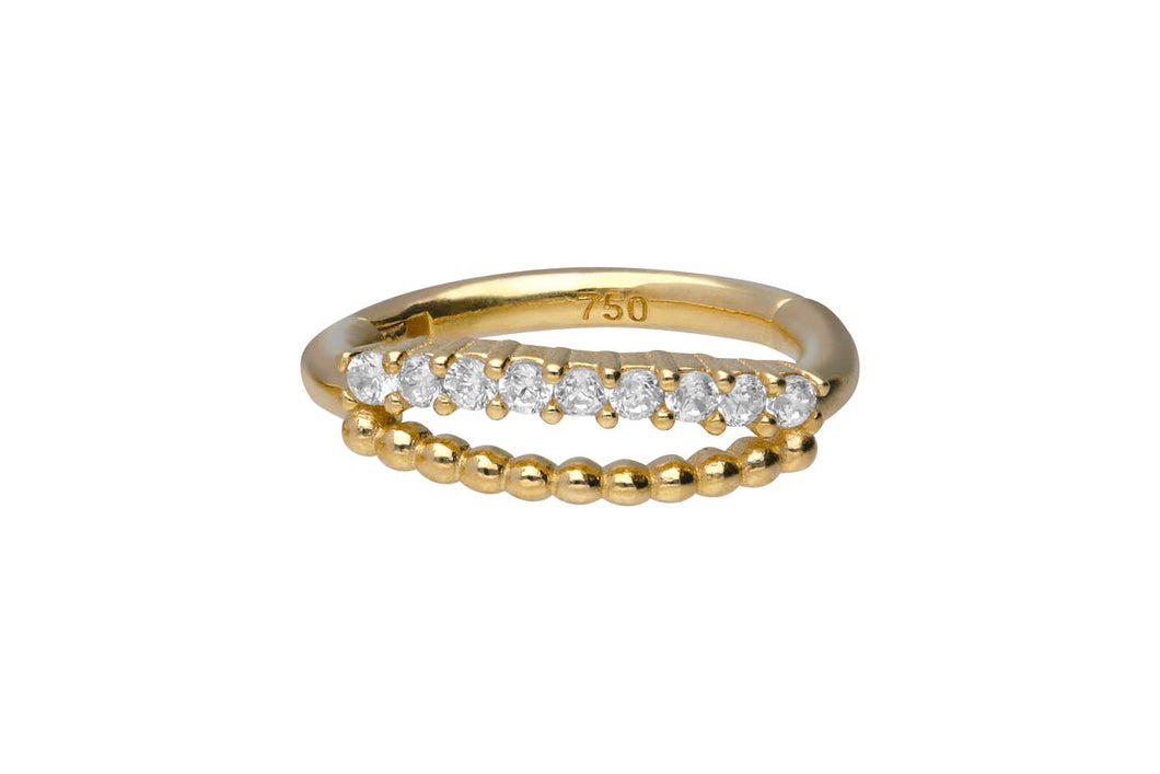 18 Karat Gold Clicker Ring Doppel Multiple Kugeln Kristalle piercinginspiration®