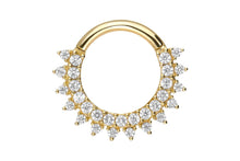 Laden Sie das Bild in den Galerie-Viewer, 18 Karat Gold Clicker Ring Multiple Kristalle Sonne piercinginspiration®