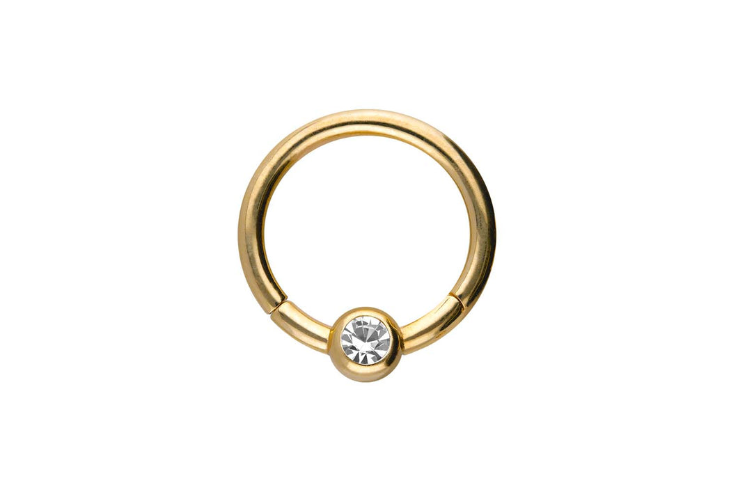 18 Karat Gold Kugel Kristall Clicker Ring piercinginspiration®