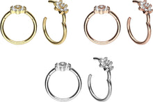 Suba la imagen al Visor de la galería, 18k Gold Clicker Ring Flower Crown Crystal piercinginspiration®