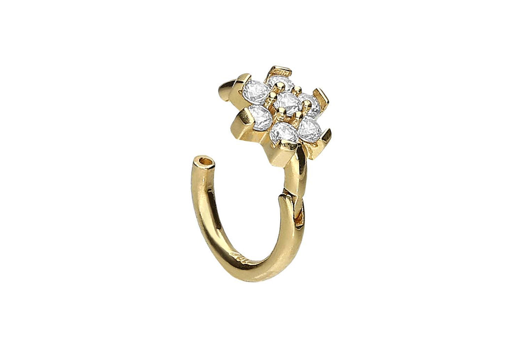 18 Karat Gold Clicker Ring Blumenkrone Kristall piercinginspiration®