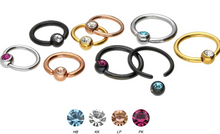 Load the image into the gallery viewer, Closed Clamping Ball Ring, Surgical Steel Crystal piercinginspiration®