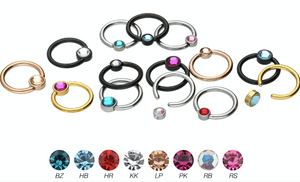 Closed clamping ball ring Flat disc crystal Surgical steel piercinginspiration®
