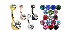 Upload the image to the gallery viewer, 2 crystals navel piercing barbell surgical steel piercinginspiration®