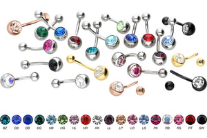 Crystal Belly Button Piercing Surgical Steel piercinginspiration®