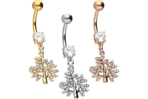 Crystal Tree Pendant Navel Piercing Barbell piercinginspiration®