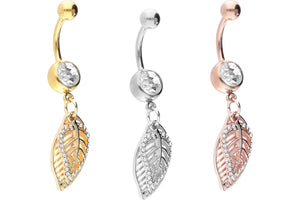 Feather crystal navel piercing barbell piercinginspiration®