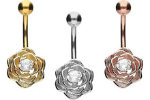 Upload the image to the gallery viewer, Flower Crystal Navel Barbell piercinginspiration®