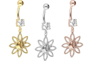 Large crystal flower pendant navel piercing barbell piercinginspiration®