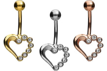 Upload the picture to the gallery viewer, crystal heart navel piercing barbell piercinginspiration®