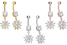 Upload the picture to the gallery viewer, crystal ice flower navel piercing barbell piercinginspiration®