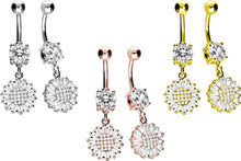 Upload the picture to the gallery viewer, flower baguette crystal navel piercing barbell piercinginspiration®