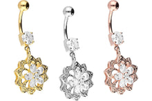 Upload the image to the Gallery Viewer, Oriental Crystal Flower Navel Barbell piercinginspiration®