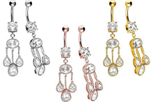 Upload the picture in the gallery viewer, Oriental 3 crystal pendant balls navel piercing barbell piercinginspiration®