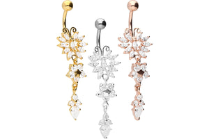 Schmetterling Blume Kristall Bauchnabelpiercing Barbell piercinginspiration®