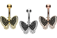 Upload the picture to the gallery viewer, Butterfly Black Crystals Navel Piercing Barbell piercinginspiration®