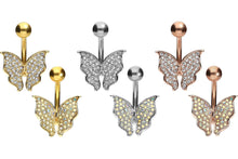 Upload the image to the gallery viewer, Butterfly Crystal Navel Barbell piercinginspiration®
