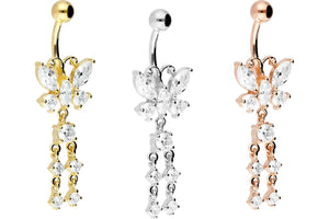 Butterfly crystal chain navel piercing barbell piercinginspiration®