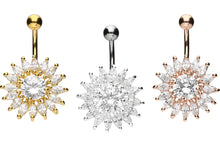 Upload the image to the gallery viewer, Sun Multiple Crystals Navel Barbell piercinginspiration®