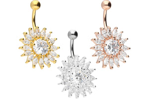 Sun Multiple Crystals Navel Piercing Barbell piercinginspiration®