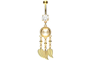 Dream catcher crystal pearl feather navel piercing barbell piercinginspiration®