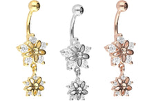 Upload the image to the gallery viewer, large small crystal flower navel piercing barbell piercinginspiration®
