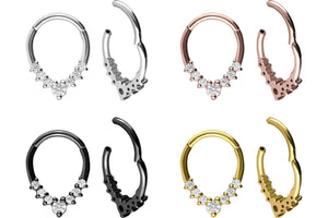 Clicker Ring Septum Daith 7 Crystals Drop piercinginspiration®