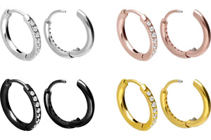 Creoles Multiple Crystals Clicker Ring Pair piercinginspiration®
