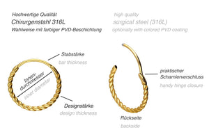 Creolen Clicker Ring Paar Gedreht piercinginspiration®