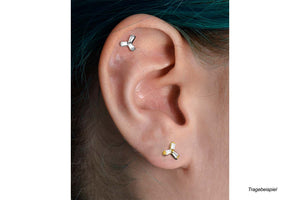 3 Baguette Blume Kristall Ohrpiercing piercinginspiration®