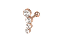 Upload the image to the gallery viewer, 4 crystals Helix ear piercing barbell piercinginspiration®