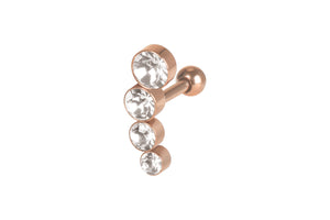 4 crystals helix ear piercing barbell piercinginspiration®