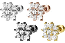 Upload the image to the gallery viewer, snowflake crystal flower ear piercing piercinginspiration®