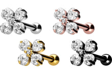 Load the image into the gallery viewer, 5 crystals shamrock ear piercing piercinginspiration®