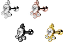 Upload the picture to the gallery viewer, 4 crystals 3 balls ear piercing stud earrings piercinginspiration®