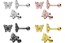 Upload the picture to the gallery viewer, Butterfly Crystals Ear Piercing Barbell piercinginspiration®