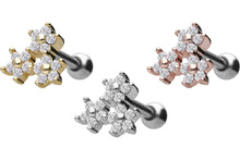 Upload the picture to the gallery viewer, triple crystal flower ear piercing piercinginspiration®