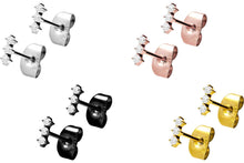 Upload the picture to the gallery viewer, 3 crystals stud earrings pair piercinginspiration®