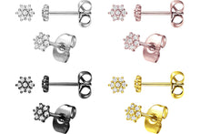 Upload the picture to the gallery viewer, Multiple Crystals Flower Stud Earrings Pair piercinginspiration®