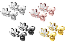 Upload the picture to the gallery viewer, stud earrings lotus crystals pair piercinginspiration®