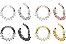 Upload the image to the Gallery Viewer, 10 Bordered Crystals Clicker Ring piercinginspiration®