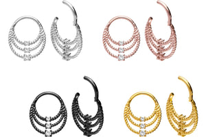 Triple Crystals 3 Rings Twisted Clicker Ring piercinginspiration®
