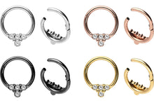 Upload the image to the gallery viewer, 4 crystals clicker ring piercinginspiration®