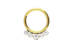 Clicker ring 5 crystal balls piercinginspiration®