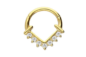 Anker Spitz Clicker Ring 7 crystals piercinginspiration®