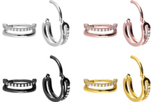 Load the image into the gallery viewer, Set Crystals Two Rows Double Ring Clicker piercinginspiration®