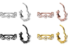 Load the image into the gallery viewer, Set Crystals Clicker Ring Tendril Conch piercinginspiration®