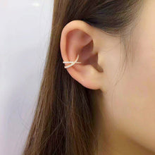 Laden Sie das Bild in den Galerie-Viewer, X Kreuz Kristall Flach Ear Cuff 925 Sterling Silber piercinginspiration®
