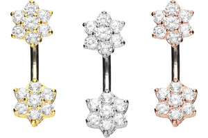 Titanium Double Small Flower Crystals 925 Silver Navel Piercing Barbell piercinginspiration®