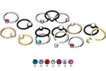 Upload the image to the gallery viewer, Titanium Closed Clamp Ball Ring Flat Disc Crystal piercinginspiration®
